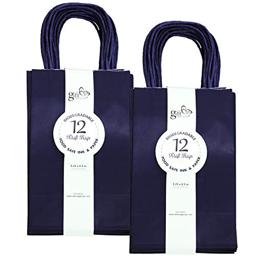 24CT SMALL NAVY BIODEGRADABLE, FOOD SAFE INK & PAPER, PREMIUM QUALITY PAPER (STURDY & THICKER), KRAFT BAG WITH COLORED STURDY HANDLEs (Small, Navy)