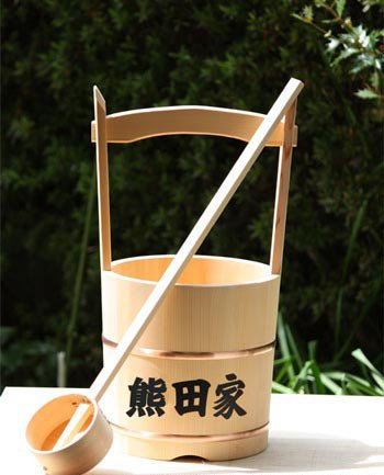 木製手桶(小) 木製ひしゃく1本付 (名&家紋入り) B01L6DJQFO 名&家紋入り 名&家紋入り