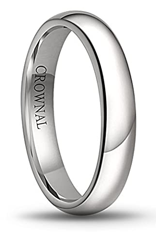 Crownal 6mm/5mm/4mm/3mm/2mm White Tungsten Carbide Polished Classic Dome Wedding Ring All Sizes (4mm, (Tungsten White Gold Ring)