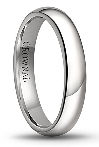 CROWNAL 6mm/5mm/4mm/3mm/2mm White Tungsten Carbide Polished Classic Dome Wedding Ring (4mm, 10) ()