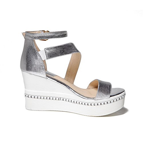 Soft High Sandals Solid Womens Open Silver Toe AmoonyFashion Heels Material Buckle tPqnpw