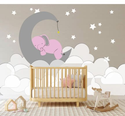 e-Graphic Design Inc Elephant Moon Clouds And Stars - Baby Girl - Nursery Wall Decal For Baby Rom Decorations - Mural Wall Decal Sticker For Home Children's Bedroom (J236) (Wide 44
