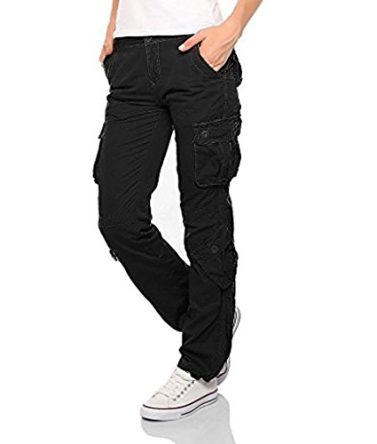 Womens Ladies Army Combat Cargo Cotton Military Trousers Pants Jeans (Black, XX-Large)