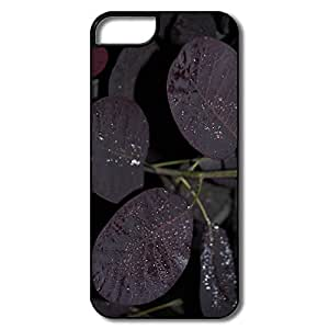 IPhone 5 5S Hard Plastic Cases, Raindrops Tree Leaves White/black Case For IPhone 5