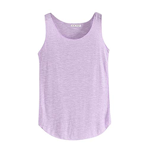 Sunhusing Women's Summer Solid Color Bamboo Cotton Slim Vest Round Neck Sleeveless Bottoming Shirt Purple