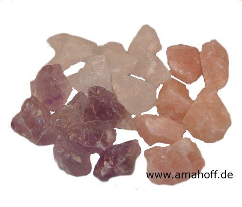 Wassersteine in 3 beliebten Sorten, je 100g. Bergkristall, Amethyst und Rosenquarz in ausgesuchter Qualität