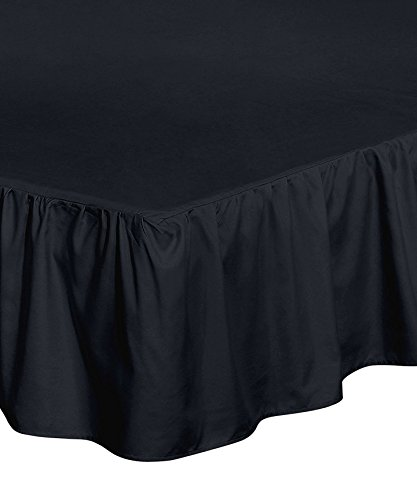 Utopia Bedding Bed Ruffle Skirt (Full - Black) - Brushed Microfiber Bed Wrap with Platform - Easy Fit - Gathered Style - 3 Sided Coverage