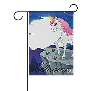 """coosun noche paisaje con rosa unicornio Bandera de poliéster bandera de Jardín al aire libre hogar partido jardín decoración, doble cara, 12""""X 18"""", poliéster, Multicolor, 28x40(in)"""