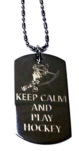 Keep Calm and Play Hockey - Military Dog Tag, Luggage Tag Metal Chain Necklace