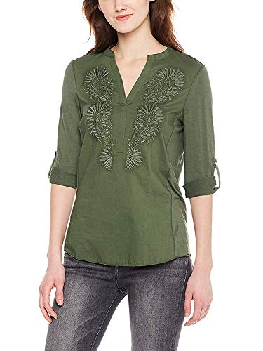Spicy Sandia Embroidered Blouses for Women V-Neck Casual Tunic Top Shirt with 3/4 Roll-up Sleeve, Green, X-Large Size