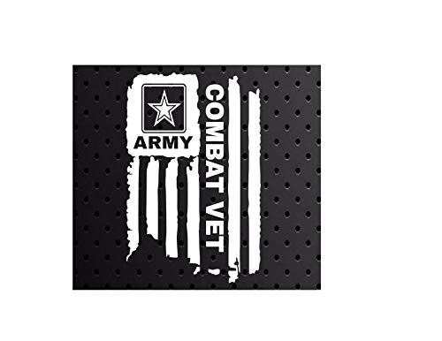 - Distressed United States US Army Combat Vet Sticker Flag Bumper Vinyl Car Decal Truck Window Laptop Army U.S. (White)