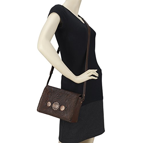 Holder Cross Leather Handbag chestnut Purse Brown West Bundle Love American Lariat Body wUnYaqg