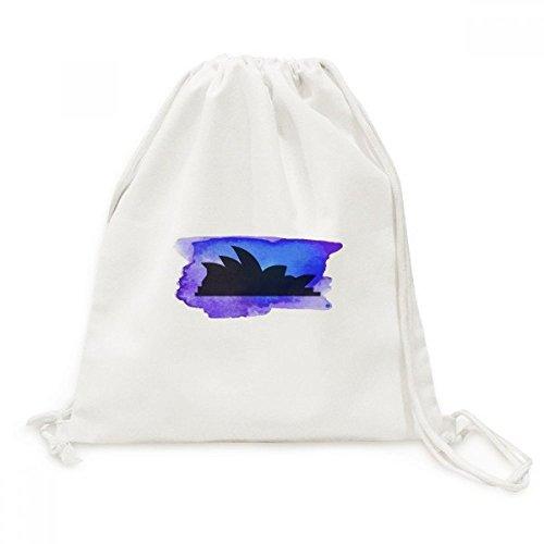 Australia Sydney Opera House Silhouette Canvas Drawstring Backpack Shopping Travel Lightweight Basic Bag - Australia Sydney Shopping
