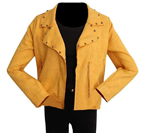 Zip Womens Solid Outwear Pocketed XINHEO Yellow Thin Rivets Lapel Jacket Relaxed xSdBqHI