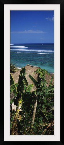 GreatBIGCanvas ''Huts on the beach, Bingin Beach, Bali, Indonesia'' Photographic Print with Black Frame, 17'' x 48'' by greatBIGcanvas