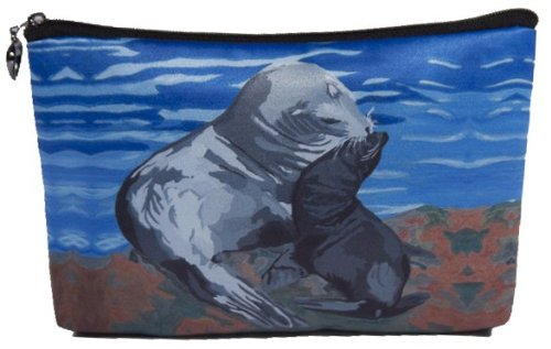 Cosmetic Bag, Zipper Pouch - Zip-top Closer - Taken From My Original Paintings - Animals (Sea Lions - Treaure)