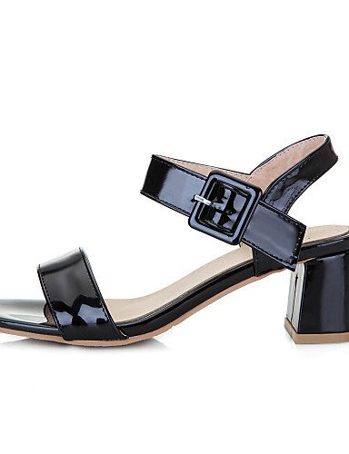 Black Chunky Black Pink Women's Casual White Heels ShangYi Sandals Heel Shoes Nude Leatherette a8n7qWRT