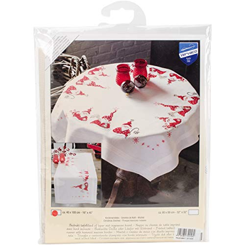 (Vervaco Gnomes Christmas Table Runner Stamped Embroidery Kit-16