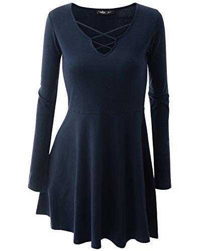 JayJay Women Crisscross Casual Long Sleeve Flared Dress Tunic,NAVY,L