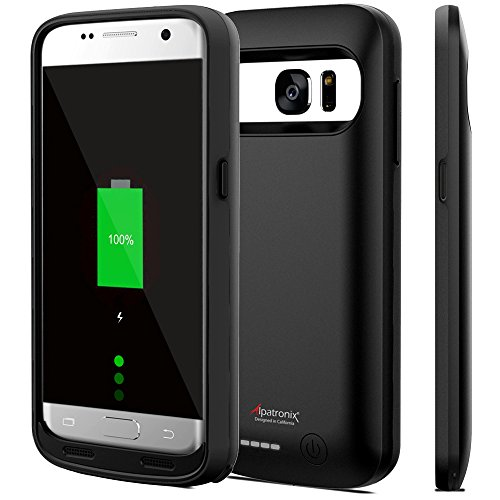 Galaxy S7 Battery Case, Alpatronix BX420 4500mAh Slim External Protective Rechargeable Portable Charging Case Charger Cover for Samsung Galaxy S7 Juice Bank Power Pack [Android OS 8.0+ (Oreo)] - Black
