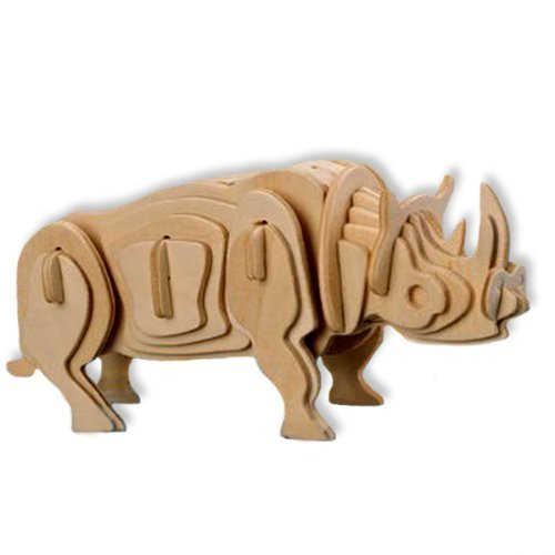 3-D Wooden Puzzle - Small White Rhinoceros -Affordable Gift for your Little One! Item #DCHI-WPZ-M018A