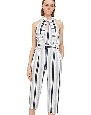 Mango Women's Striped Linen-Blend Trousers