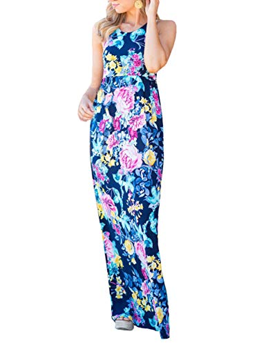DUNEA Women's Maxi Dress Floral Printed Autumn 3/4 Sleeve Casual Tunic Long Maxi Dress (Medium, Blue#1) ()