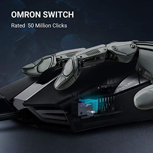ABKONCORE Gaming Mouse A900 [16,000 DPI], Wired, USB Computer Mice with 8 Programmable Buttons, PWM 3389 Sensor, RGB Backlit, Comfortable Grip Both Handed Mice for Laptop, PC, Mac, Windows 41HUaT6yp6L