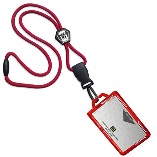 Specialist ID Heavy Duty Lanyard and Identity Stronghold 2-Card RFID Blocking Badge Holder (Red)