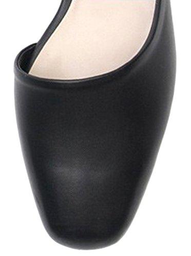 Karen White Mujeres Flats Square Toe Zapatos De Cuero Genuino, Varios Colores Negro