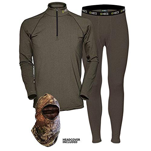 HECS Suit Turkey Base Layer Hunting Clothing with Human Energy Concealment Technology - Thermal 3 Piece Shirt, Pants, Headcover - High Performance Lightweight Breathable Wicking Fabric | X-Large