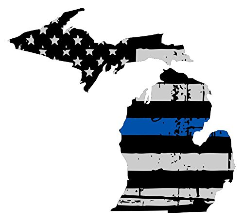 Michigan tattered thin blue line us flag honoring our men & women of law enforcement car symbol sticker decal die cut vinyl window computer - Made and Shipped in USA