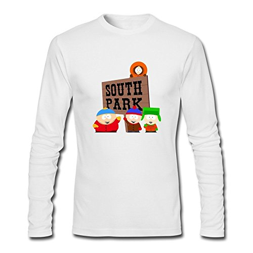 GYKU Men's South Park Long Sleeve T-Shirt White US Size S,100% -