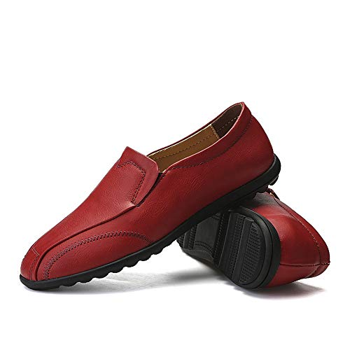 Scarpe Rosso uomo Casual shoes da Leather Business pedale Uomo Color Light Dimensione Rosso Xiaojuan 41 Lofer Pelle EU con Oxford Soft traspirante un dU6xw5q