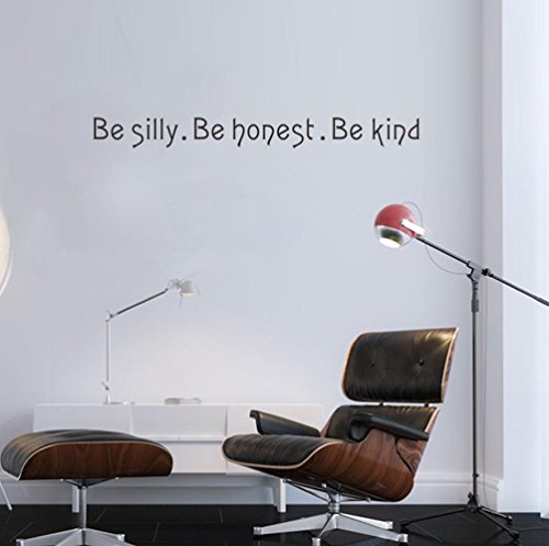 BIBITIME Be silly Be honest Be kind Sign Quotes Vinyl Wall Art Decal Stickers Decor for Kids Room Bedroom Nursery Living Room 2244quot x 236quot