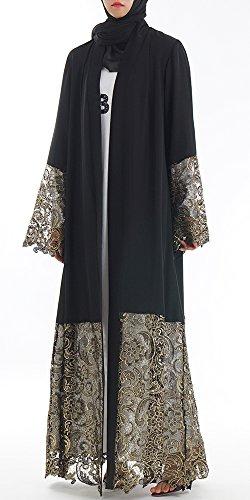 YI HENG MEI Women's Muslim Islamic Chiffon Embroidered Open Front Long Maxi Abaya Cardigan,Black,Tag M = US Size 4-6 by YI HENG MEI