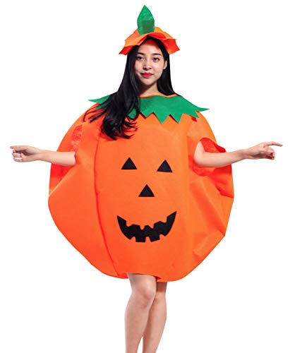 Halloween Lady Fancy Pumpkin Costume Masquerade Party Cosplay Dress Up with Hat -