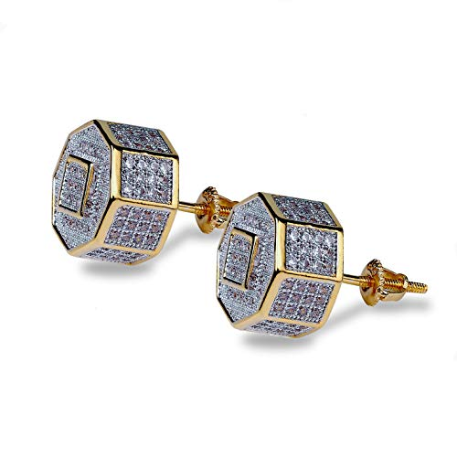 TOPGRILLZ 925 Sterling Silver Iced out Simulated Lab Diamond Cubic Zirconia Square in Polygons Screw Back Earrings for Men Hip Hop (Gold Square)