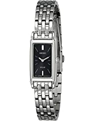 Seiko Womens SUP043 Stainless Steel and Black Dial Baguette Solar Watch