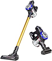 Dibea D18 Lightweight Cordless Stick Vacuum Cleaner, 9000pa Powerful Suction Bagless Rechargeable 2 in 1 Handheld Car Vacuum, Gold