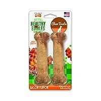 Delicados para perros con sabor a tocino Nylabone Healthy Edibles   Todas las golosinas para perros sin grano natural hechas en los EE. UU. Solamente   Golosinas masticables para perros pequeños y grandes   2 cuenta