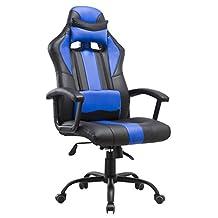 Porthos Home DCH015A BLU Lorenzo Gaming Chair, Stripe, Blue