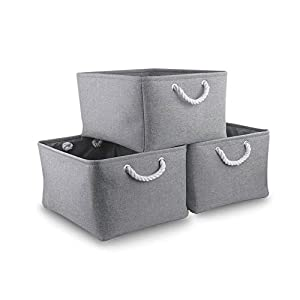 MANGATA Thickened Storage Boxes, Extra Large Fabric Baskets with Handles 17.7(L) x 13.8(W) x 9.4(H) 3-Pack (Grey, Jumbo)