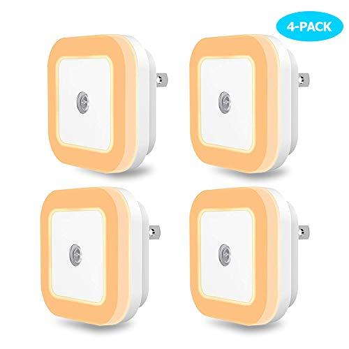 SOAIY Plug-in Night Light-4-pack-Warm White LED Night Light-Smart Dusk to Dawn Sensor LED Night Lamp for Hallway, Kitchen, Bathroom, Bedroom, Stairs, Aisle, Corridor, Corner, Kids Room