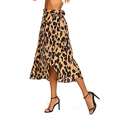 Newchoice Women's Boho Leopard Skirt High Low Split Summer Beach Midi Wrap Skirts at Women's Clothing store