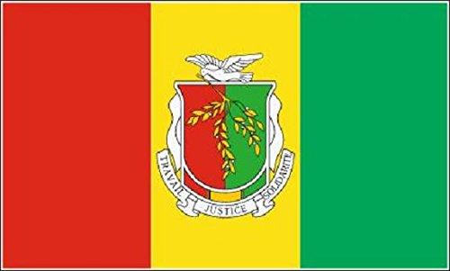 U24 Drapeau du Guinée drapeau avec armoiries Bateau haute qualité pour 150 x 250 cm