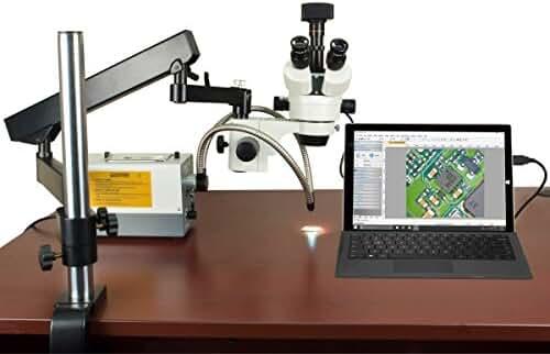 OMAX 2.1X-270X USB3 5MP Trinocular Zoom Stereo Microscope on Articulating Arm+150W Dual Fiber Light