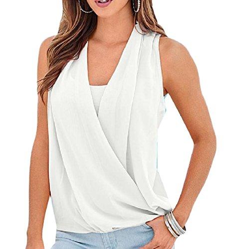 スタジオおめでとうハイブリッドTootess 女性のvネックソリッドビーチファッションシフォンベストタンクトップシャツ