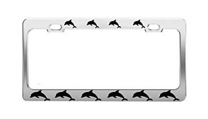DOLPHIN Pictures Sea Ocean License Plate Frame Chrome Metal Car Accessories