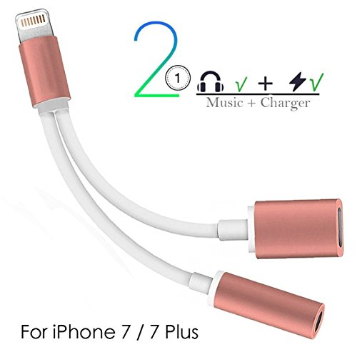 2 in 1 Lightning iPhone 7 Adapter & Splitter, Lightning Adapter and Charger, Lightning to 3.5mm Aux Headphone Jack Audio Adapter for iPhone 7/7 Plus (Rose Gold)